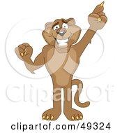 Cougar Mascot Character Pointing Upwards