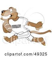 Cougar Mascot Character Playing Football