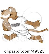 Royalty Free RF Clipart Illustration Of A Cougar Mascot Character Playing Football