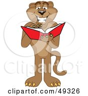 Royalty Free RF Clipart Illustration Of A Cougar Mascot Character Reading by Toons4Biz