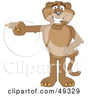 Royalty Free RF Clipart Illustration Of A Cougar Mascot Character Pointing Left