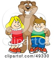 Royalty Free RF Clipart Illustration Of A Cougar Mascot Character With Children