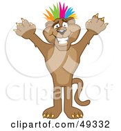 Royalty Free RF Clipart Illustration Of A Cougar Mascot Character With Colorful Hair by Toons4Biz