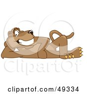 Royalty Free RF Clipart Illustration Of A Cougar Mascot Character Reclined