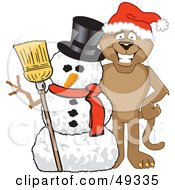 Royalty Free RF Clipart Illustration Of A Cougar Mascot Character With A Snowman