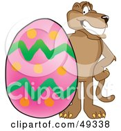 Royalty Free RF Clipart Illustration Of A Cougar Mascot Character With An Easter Egg