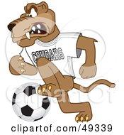 Cougar Mascot Character Playing Soccer