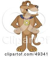 Cougar Mascot Character Wearing A Medal