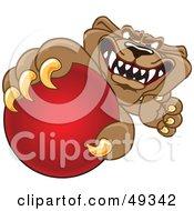 Cougar Mascot Character Grabbing A Ball