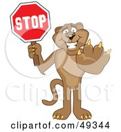 Royalty Free RF Clipart Illustration Of A Cougar Mascot Character Holding A Stop Sign