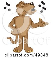 Royalty Free RF Clipart Illustration Of A Cougar Mascot Character Singing by Toons4Biz