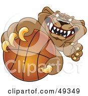Cougar Mascot Character Grabbing A Basketball
