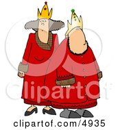 Royal King  Queen Wearing Red Robes And Gold