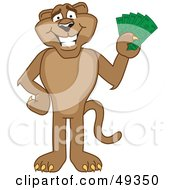 Royalty Free RF Clipart Illustration Of A Cougar Mascot Character Holding Money by Toons4Biz