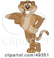 Royalty Free RF Clipart Illustration Of A Cougar Mascot Character Leaning by Toons4Biz