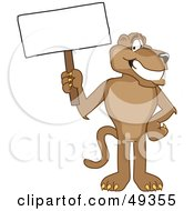 Royalty Free RF Clipart Illustration Of A Cougar Mascot Character Holding A Blank Sign