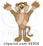 Royalty Free RF Clipart Illustration Of A Cougar Mascot Character Holding His Arms Up by Toons4Biz