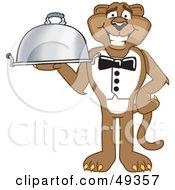 Cougar Mascot Character Serving A Platter