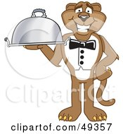 Royalty Free RF Clipart Illustration Of A Cougar Mascot Character Serving A Platter by Toons4Biz