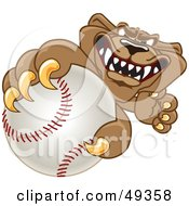 Cougar Mascot Character Grabbing A Baseball