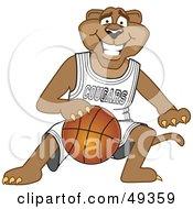 Cougar Mascot Character Dribbling A Basketball