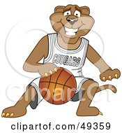 Royalty Free RF Clipart Illustration Of A Cougar Mascot Character Dribbling A Basketball