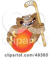Cougar Mascot Character Grabbing A Hockey Ball