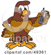 Royalty Free RF Clipart Illustration Of A Falcon Mascot Character Holding A Cell Phone