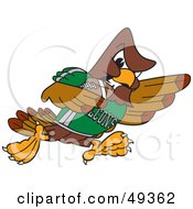 Royalty Free RF Clipart Illustration Of A Falcon Mascot Character Playing Football