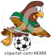 Royalty Free RF Clipart Illustration Of A Falcon Mascot Character Playing Soccer