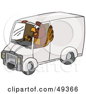 Falcon Mascot Character Driving A Delivery Van