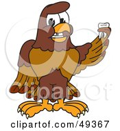 Royalty Free RF Clipart Illustration Of A Falcon Mascot Character Holding A Missing Tooth