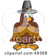 Royalty Free RF Clipart Illustration Of A Falcon Mascot Character Wearing A Pilgrim Hat