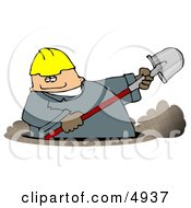 Caucasian Male Worker Digging A Deep Underground Hole With A Shovel
