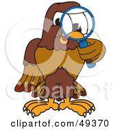 Royalty Free RF Clipart Illustration Of A Falcon Mascot Character Using A Magnifying Glass