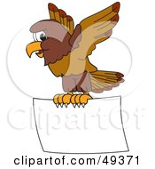 Royalty Free RF Clipart Illustration Of A Falcon Mascot Character Flying A Blank Sign