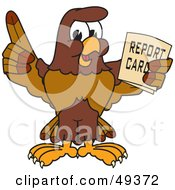 Falcon Mascot Character Holding A Report Card
