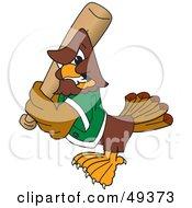 Falcon Mascot Character Batting