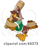 Royalty Free RF Clipart Illustration Of A Falcon Mascot Character Batting
