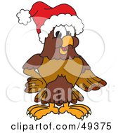 Royalty Free RF Clipart Illustration Of A Falcon Mascot Character Wearing A Santa Hat