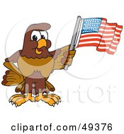 Royalty Free RF Clipart Illustration Of A Falcon Mascot Character Waving An American Flag