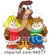 Royalty Free RF Clipart Illustration Of A Falcon Mascot Character With Children