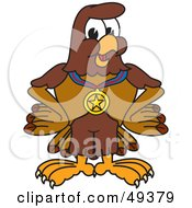Royalty Free RF Clipart Illustration Of A Falcon Mascot Character Wearing A Medal