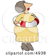 Obese Elderly Woman Wearing An Emergency Life Preserver Float Tube Around Her Waist Clipart by djart