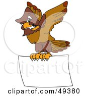 Royalty Free RF Clipart Illustration Of A Falcon Mascot Character Carrying A Blank Sign