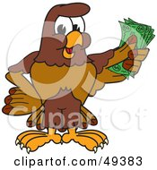 Royalty Free RF Clipart Illustration Of A Falcon Mascot Character Holding Cash