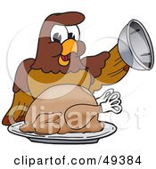 Royalty Free RF Clipart Illustration Of A Falcon Mascot Character Serving A Turkey by Toons4Biz