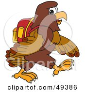 Royalty Free RF Clipart Illustration Of A Falcon Mascot Character Walking To School by Toons4Biz