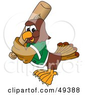 Royalty Free RF Clipart Illustration Of A Falcon Mascot Character Playing Baseball