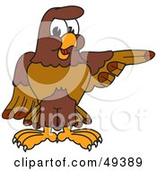 Royalty Free RF Clipart Illustration Of A Falcon Mascot Character Pointing Right by Toons4Biz